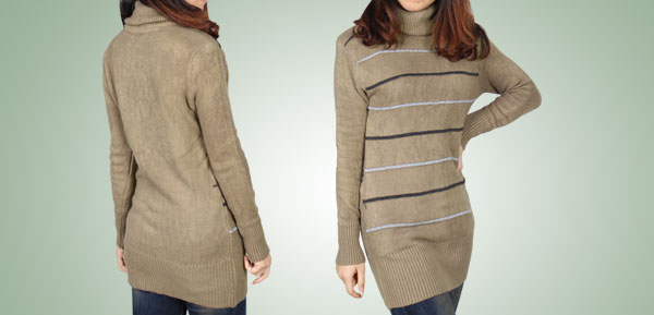 Ladies Winter Wear Khaki Long Sleeves Turtleneck Pullover Sweater XS