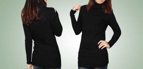 Ladies Black Long Sleeves Pullover Style Turtleneck Sweater XS