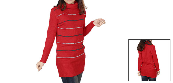 Ladies Winter Wear Red Long Sleeves Turtleneck Pullover Sweater XS