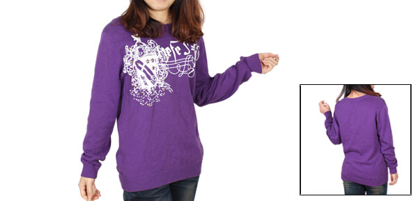 Ladies Purple Long Sleeves Pullover Sword Pattern Sweater S