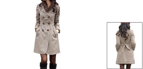 Ladies Gray Button Closure Front Pockets Detail Long Sleeve Button-tab Trench Jacket M