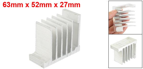 Aluminium 63mm x 52mm x 27mm Heatsink Dissipate Cooler Fin