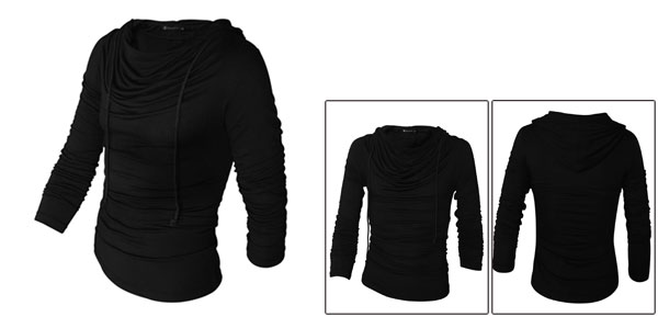 Men Fashion Black Cowl Neck Stretchy Simple Style Casual Fall Cool Hoody M