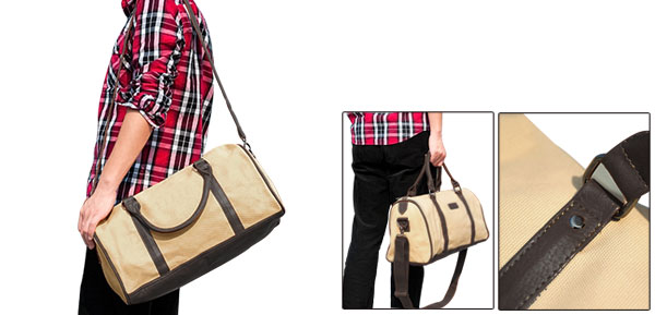 Mens Two Top Handle Detachable Shoulder Strap Fashion Beige Canvas Duffle Bag