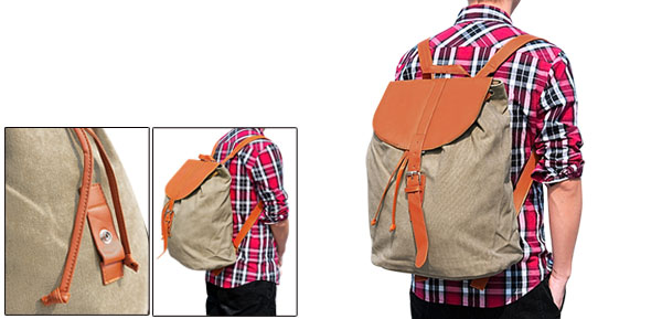 Mens Khaki Drawstring Opening Design Casual Two Shoulder Strap Backpack