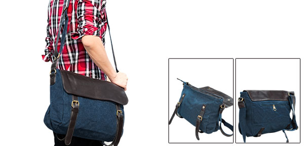 Unisex Dark Blue Fashion Fold Over Snap Fastening Canvas Shoulder Bag