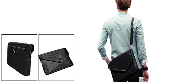 Unisex Classic Black Zip Top Fold Over Design Faux Leather Fashion Envelope Bag