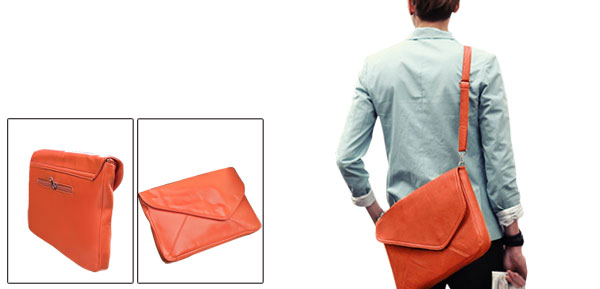 Unisex Stylish Fold Over w Snap Fastening Bright Orange Faux Leather Envelope Bag