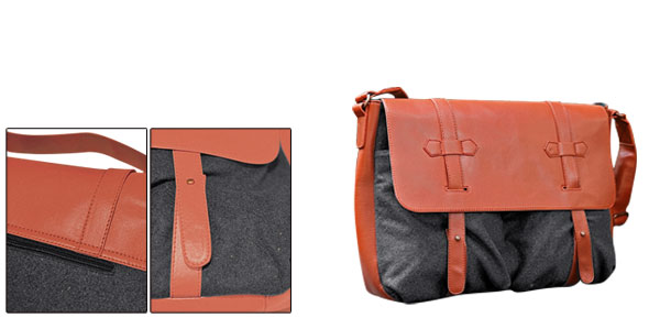 Mens Orange Dark Gray Adjustable Faux Leather Detail Shoulder Bag