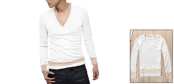 Men White V Neckline Long Sleeve Simple Style Stretch Ribbing Hem Slim Top Shirt XS