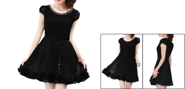 Elegant Ladies Self Tie String Stretchy Puff Sleeve Modern Dress Black XS