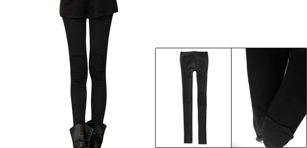 Women Full Length Spliced Pants Tight Fitting Warm Leggings Black XS