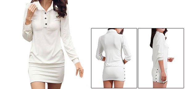 Allegra K Women Point Collar Button Upper Long Sleeves Mini Dress White L