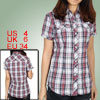 Ladies Blue Red Plaid Pattern Point Collar Single Breasted Shirt ...