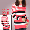 Ladies Pink White Horizontal Stripes Long Sleeves Pullover Sweate...