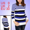 Ladies Blue White Horizontal Stripes Long Sleeves Pullover Sweater XS