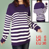 Women Purple White Stripes Pattern Long Sleeves Pullover Sweater S