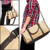 Mens Two Top Handle Detachable Shoulder Strap Fashion Beige Canva...