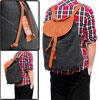 Mens Dark Gray Adjustable Shoulders Strap Faux Leather Detail Backpack