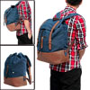 Unisex Dark Blue Coffee Color Patch Inner Zip Pockets Adjustable Shouder Strap Backpack