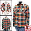 Mens Orange Green Plaids Button Down Long Sleeve Two Pocket Thick...