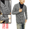 Men Stylish Gray Shawl Collar Long SLeeve Double Breasted Two Poc...