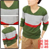 Men Olive Green Stylish Long Sleeve Pullover Design V-neck Casual...