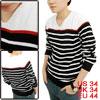 Men Texture V Neck Contrast Color Black White Stripe Long Sleeve ...