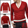 Men Red Stylish Fake Two Pieces V-neck Long Sleeve Fall Casual Te...