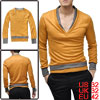 Men Dark Yellow Long Sleeve Ribbed Detail Pullover Design Layered...