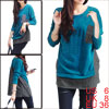 Women Softness Stretch Side Buttons Decor Pockets Batwing Casual ...