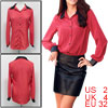 Ladies Red Turndown Collar Faux Leather Patchwork Spring Blouse X...