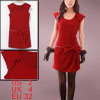Ladies Dark Red Sleeveless Pullover Zipper Decor Front Mini Dress...