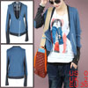 Ladies Blue Front Zipper Long Sleeves Patchwork Spring Coat XS