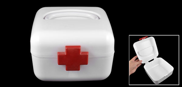 Family Handheld Medical Chest Medicine Container First Aid Box Case White Red
