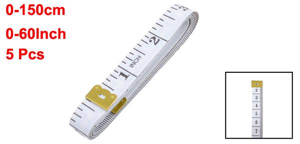 Soft Plastic 60Inch/150cm Height Ruler Tape Measure Tool White Black 5 Pcs