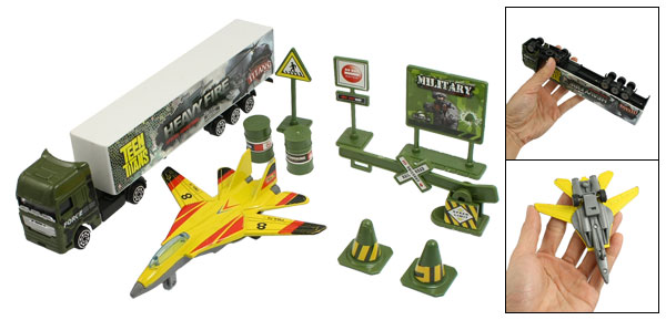 Children Plastic Fuel Barrel Military Model Aircraft Trucks Toy Set 11 in 1