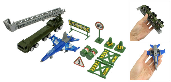 Child Plastic Roadblocks Traffic Sign Aircraft Trucks Toy Set 10 in 1