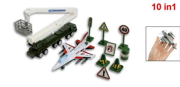 Child Army Green Plastic Traffic Sign Airplane Trucks Toy Set 10 in 1