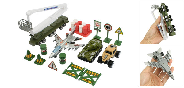 14 in 1 Army Green Plastic Airplane Military Model Tank Truck Toy Set for Child