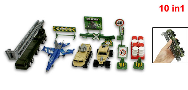 Kids Plastic Roadblocks Airplane Military Model Truck Tank Toy Kit 13 in 1