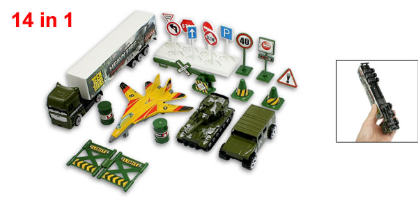 Children Plastic Parking Barrier Aircraft Military Model Trucks Toy Set 14 in 1