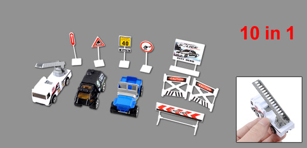 Kids White Black Roadblocks Traffic Sign Model Police Car Toy Set 10 in 1