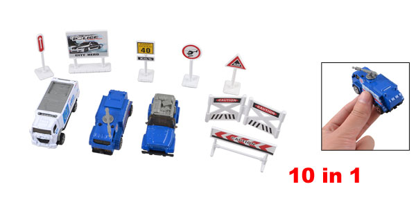 Children White Blue Roadblocks Traffic Sign Model Police Car Toy Set 10 in 1