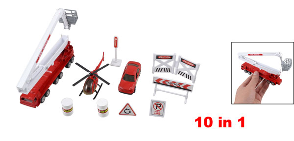 Child Plastic Traffic Sign Roadblocks Helicopter Fire Engine Truck Toy Set 10 in 1