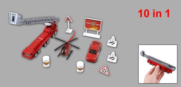 Kids Plastic Fuel Barrel Roadblocks Helicopter Fire Engine Truck Toy Set 10 in 1
