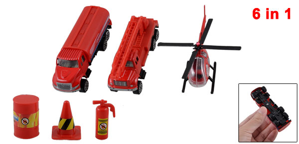 Children Red Plastic Road Block Helicopter Truck Crane Toy Set 6 in 1