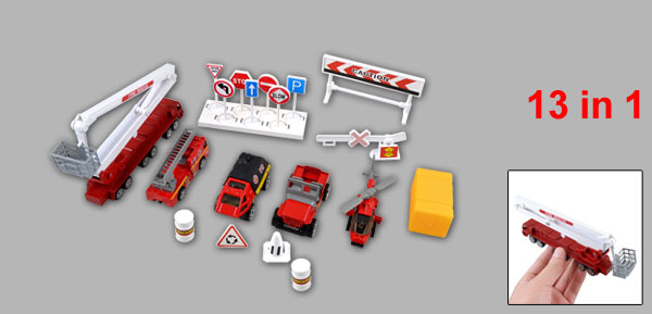 Child Plastic Parking Barrier Traffic Sign Roadblocks Fire Engine Truck Toy Set 13 in 1