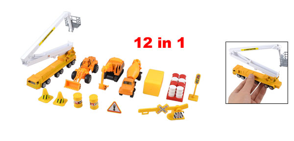 Children Plastic Fuel Barrel Traffic Sign Construction Truck Toy Set 12 in 1