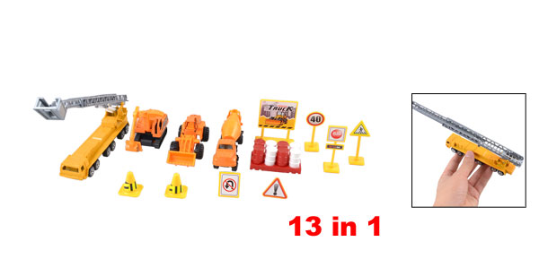 13 in 1 Plastic Traffic Sign Roadblocks Construction Truck Toy Set for Child